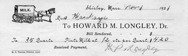receipt to Mrs. MacKaye for milk payment signed by K.P. Longley